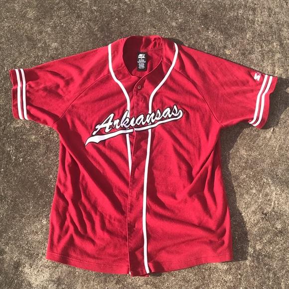 buy popular 14b64 4879c Vintage Starter Arkansas Baseball Jersey sz XL